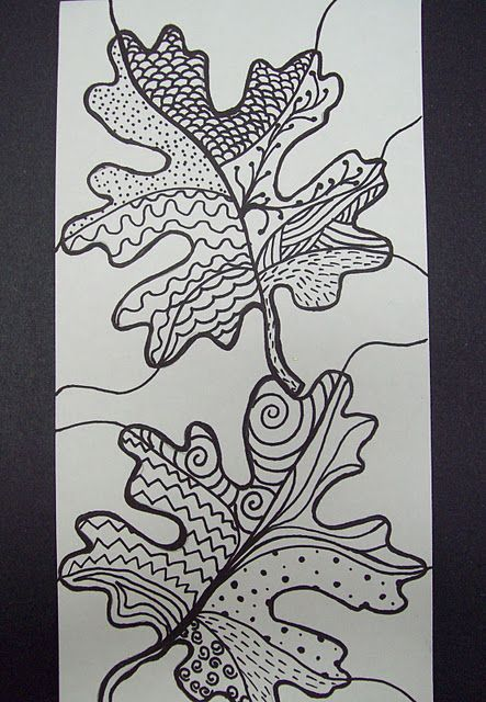 Sub plans--zentangle leaves, and lots of other projects from a middle school art teacher