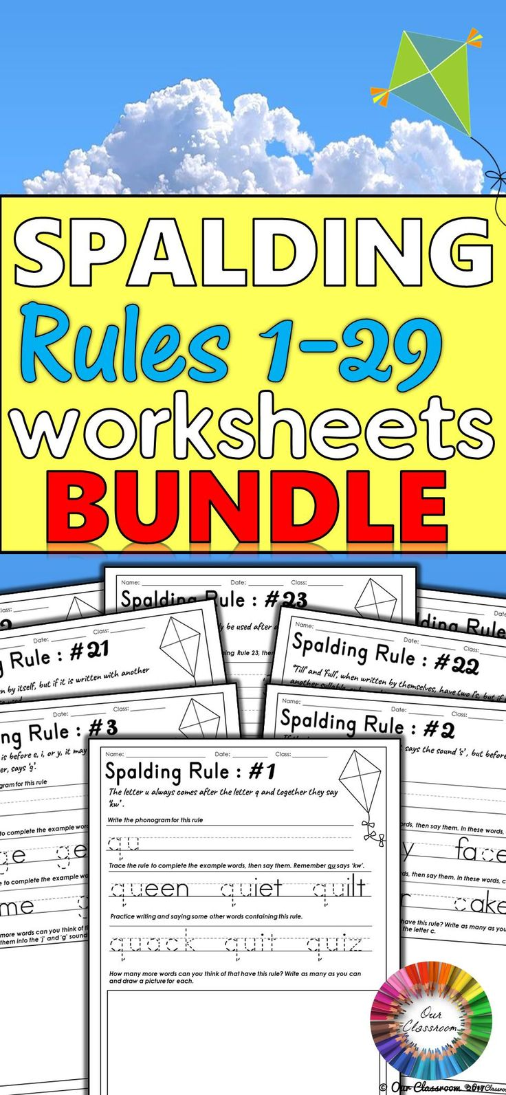 Learning the Spalding Rules? This bundle contains an individual worksheet for each of the Spalding Rules 1-29 at a discounted price. It includes phonogram pronunciation, spelling and language rules. These worksheets include tasks to help students understand the different rules and what they do. Students apply all these rules when spelling, reading words and writing sentences. They should be doing daily practice of these rules and these worksheets make that easy!