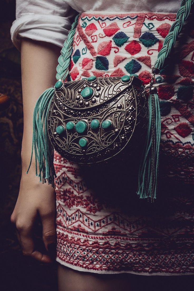 metal turquoise purse