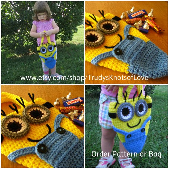 Crochet Minion Halloween bag, Oh so cute. Order the pattern or the bag soon! at www.etsy.com/shop/TrudysKnotsofLove