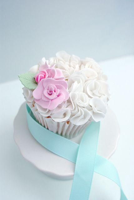 white ruffled cupcake
