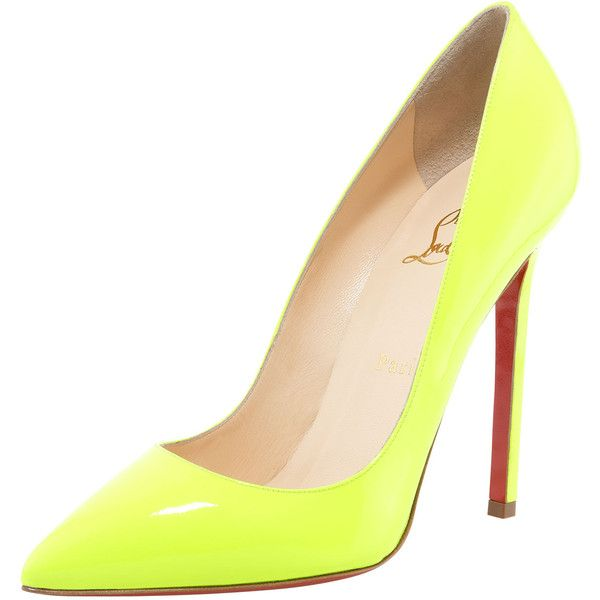 "So so need a pair of neon pumps right on trend now. Not sure about spending that much on the ""it thing"", but they are so beautiful xx.  Christian Louboutin Pigalle Neon Pump found on Polyvore"