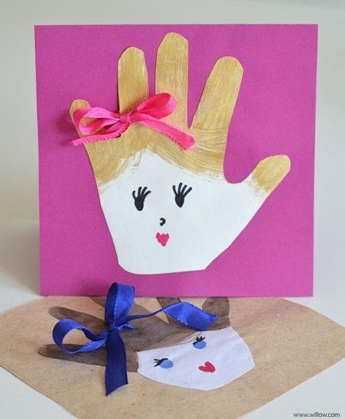 tarjeta de mano para el dia del padre o la madre