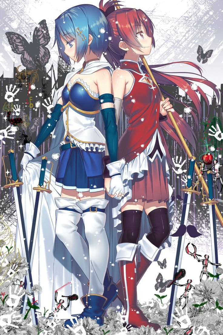Sayaka and Kyouko looking awesome and cute!