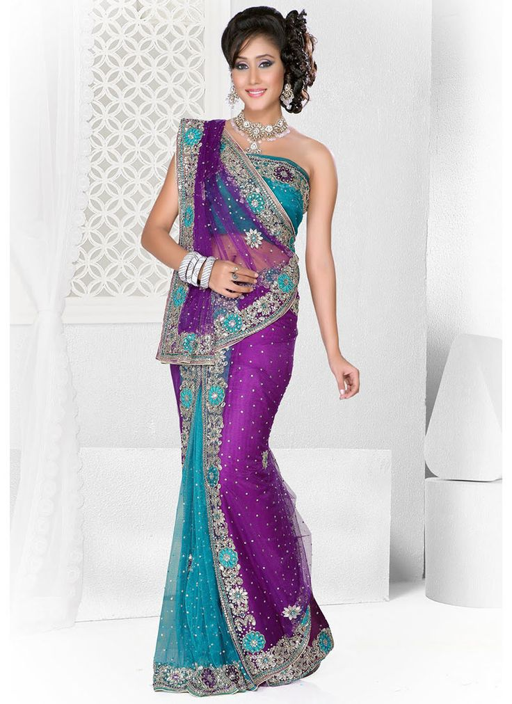 Fab Purple And Turquoise Ready Pleated Saree