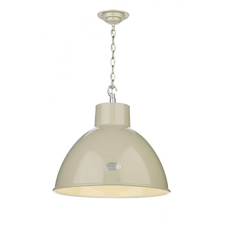 Artisan Lighting UTILITY industrial retro style gloss cream metal ceiling pendant light
