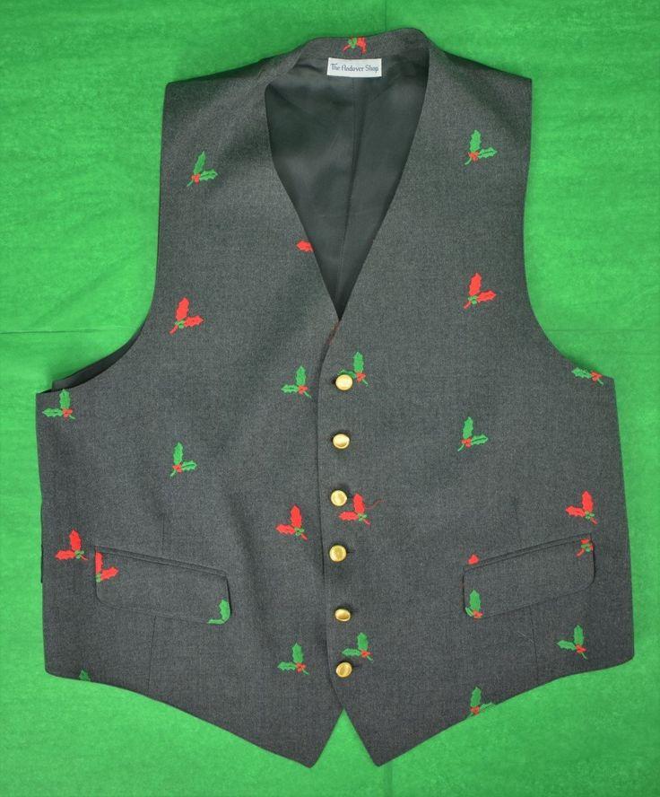 The Andover Shop Grey Flannel Vest w/ Emb Holly Sz: 46L
