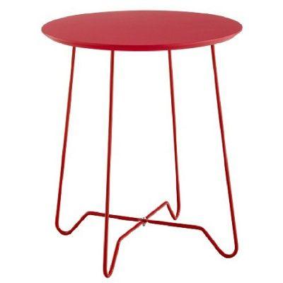 Table basse en métal avec plateau MDF (panneau de fibres de bois) de couleur rouge, Ø 45 cm.<br>A utiliser dans le salon comme table basse ou bout de canapé, voire dans la chambre comme table de chevet.<br>Dimensions : Ø 45 x 50 cm.<br>En livraison à domi