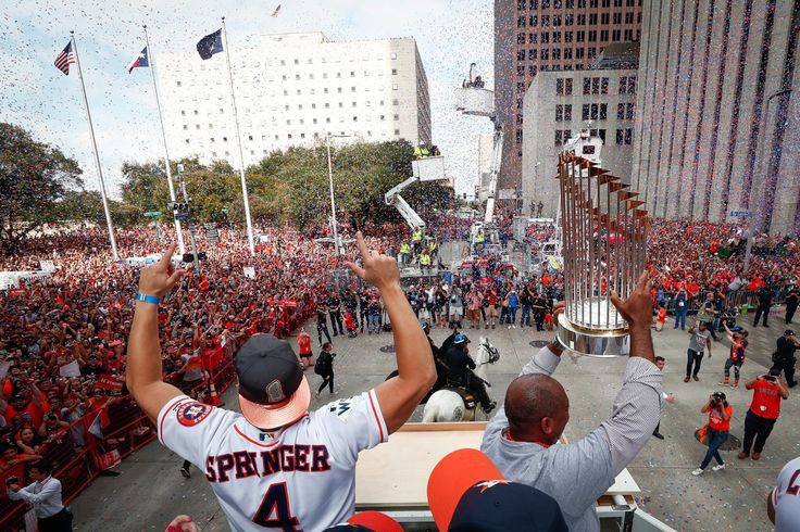 World Series MVP George Springer and Mayor Sylvester Turner (holding Commissioner's Trophy) at Fri 3 Nov 2017 parade in Houston