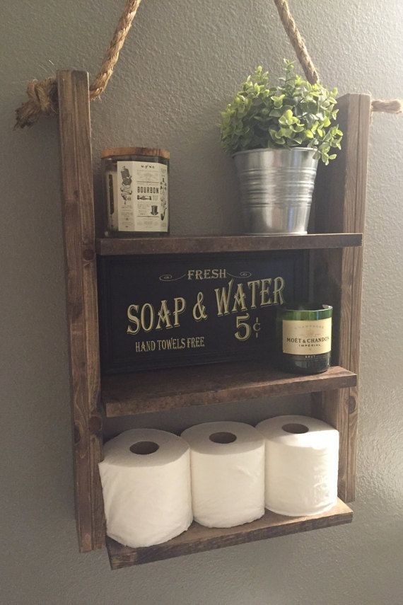 Bathroom Shelf   Hanging Ladder Shelf   Rustic Wood And Rope Shelf   Modern  Farmhouse   Cabin Furniture   Medicine Cabinet