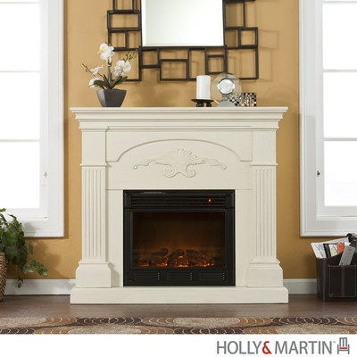 salerno ivory white electric fireplace mantel tv stand holly martin. Black Bedroom Furniture Sets. Home Design Ideas