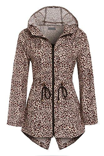 Leopard Women's Niko Polka Dot Parka Rain Ladies Jacket Coat