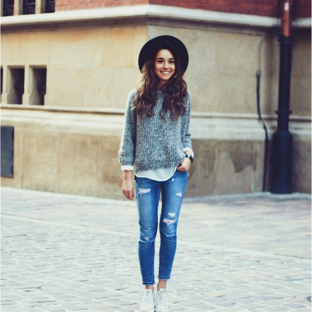distressed denim + knit top layer + black hat by weronika zalazinska. zazumi.com