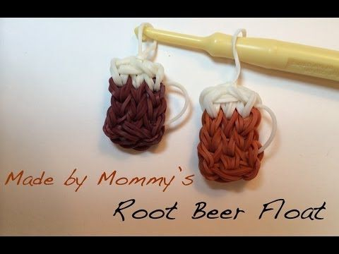 ROOT BEER FLOAT Charm on the Rainbow Loom. Designed and loomed by Made By Mommy. Click photo for YouTube tutorial.
