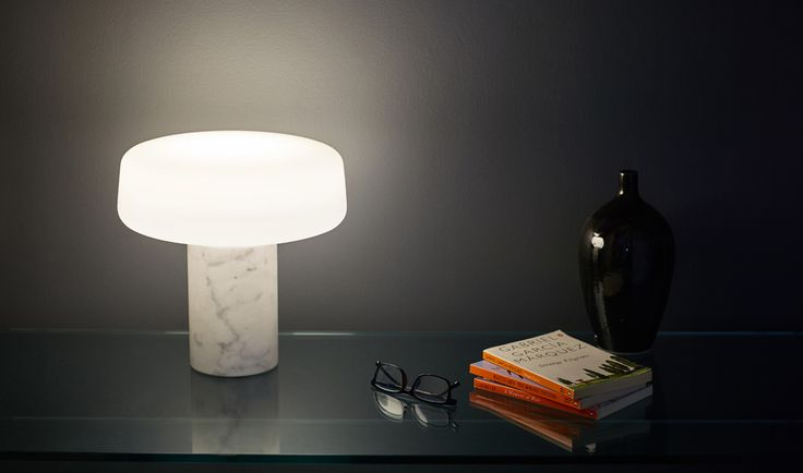Solid Table Light in Carrara marble