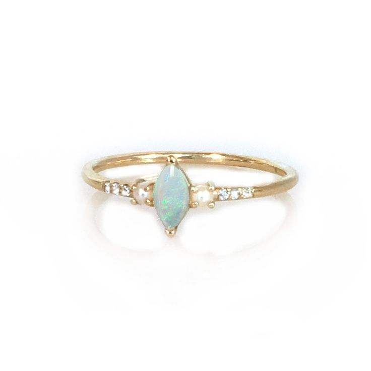 WANT THIS! Only without the diamonds...14kt Opal, Diamond and Pearl Savoy Ring