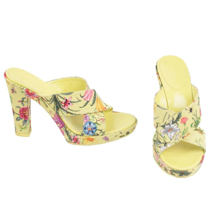 GUCCI Green Floral Fabric HEELED SANDALS Shoes PUMPS