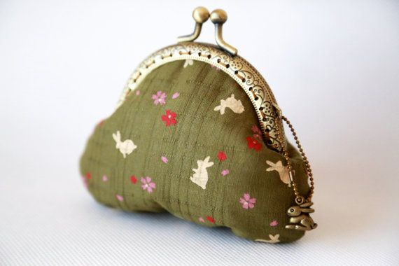 Sakura & Rabbit Coin Purse Olive Green by CottonTimes on Etsy