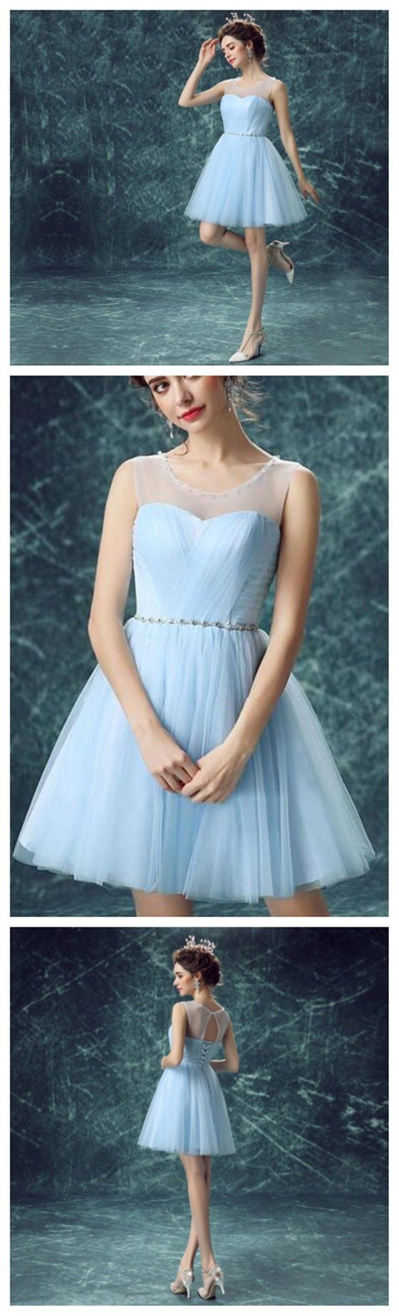 Blue Homecoming Dress,Tulle Prom Dr