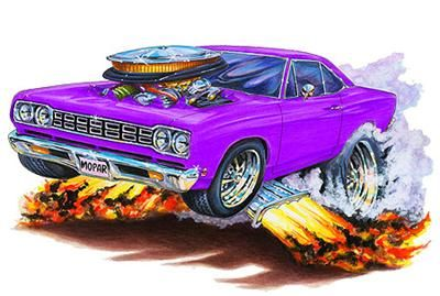 1968 69 Roadrunner Muscle Car Cartoon Tshirt Free Hot Rods