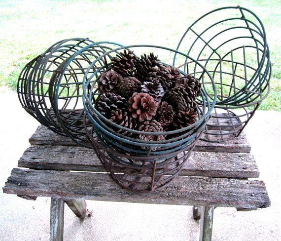 ✯ Wire #Basket Industrial Decor Rustic Cabin Farmhouse #Bowl Country Kitch... GiftIdeas http://etsy.me/2hvFshL