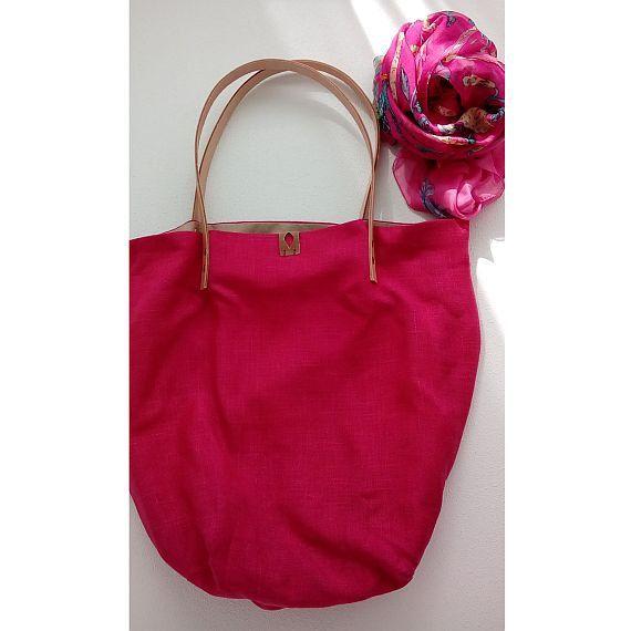 Pink Tote Bag Market Bag Pink Shopping Bag Tote Bag by AJatelier