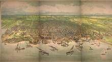 A bird's-eye view of Toronto in 1893, from the Humber River in the west to Victoria Park Avenue in the east. (Barclay, Clark & Co. Lithographers/Toronto Public Library)