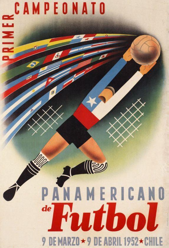 Afiche del 1er campeonato panamericano de fútbol  / 1952