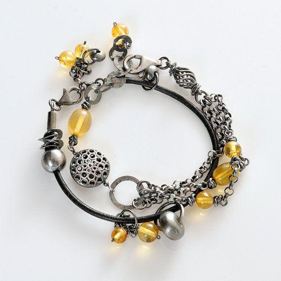 Amber Boho Bracelet set of the two bracelets Citrine by AnnaBujak