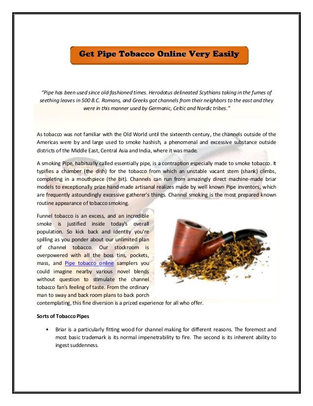 Read this document to know more about pipe tobacco online...