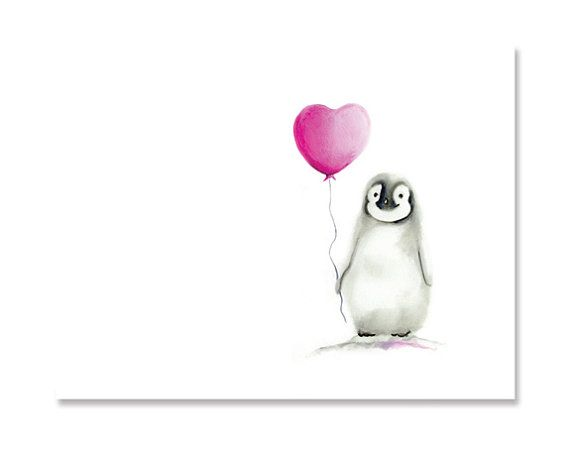 Baby Penguin with Balloon Animal Print Heart and by studioQgallery, $14.00