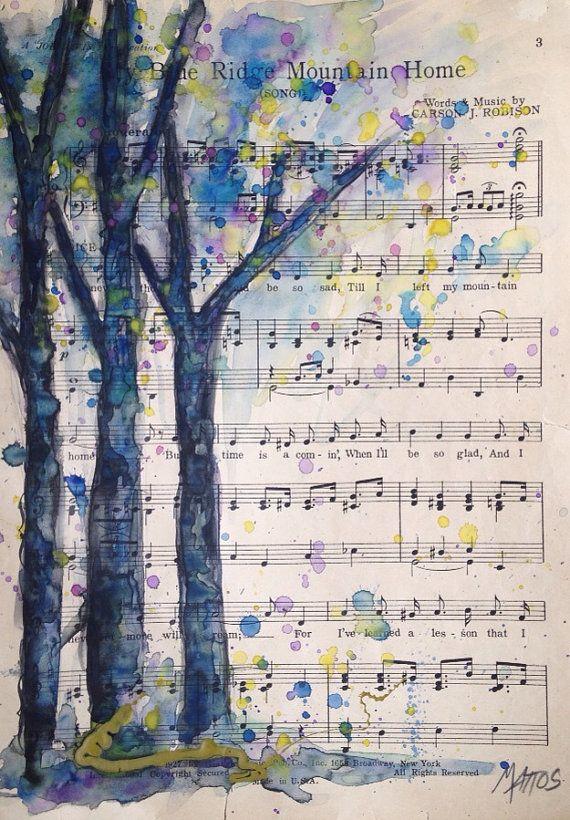 Artículos similares a Acuarela sobre partitura de reciclado vintage árbol pintura arte original naturaleza papel reciclado en Etsy