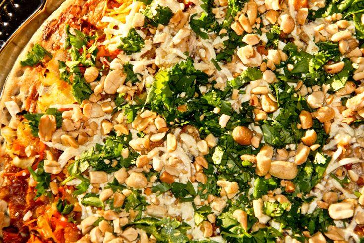 Thai Tofu & Peanut Pizza! feat. Japanese Teriyaki OR Thai Peanut Sauce, for a mild or spicy pizza! (cilantro, carrot, green or purple cabbage, onion, veg mozzarella, *optional peanut butter) #glutenfree option!