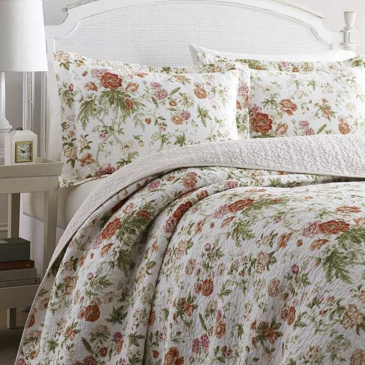 Laura Ashley Breezy 100% Cotton Reversible Quilt Set by ...