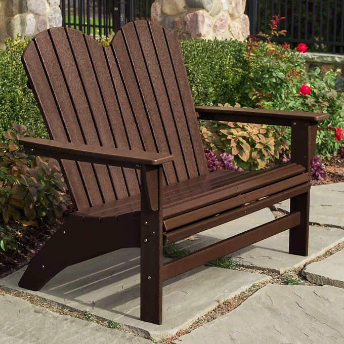 Awe Inspiring Portside Double Adirondack Bench By Polywood Outdoor Decor Pdpeps Interior Chair Design Pdpepsorg