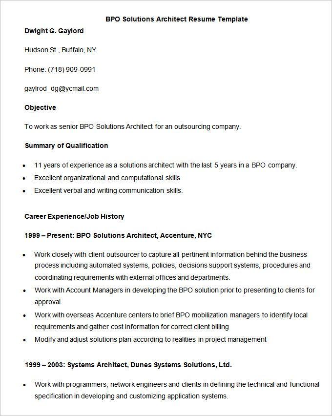 Resume Format Kpo Resume Template Architect Resume Sample Free Resume Samples