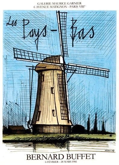 """Bernard BUFFET - Affiche de l'exposition  """" LES PAYS-BAS """" Galerie Maurice Garnier, 1986"""