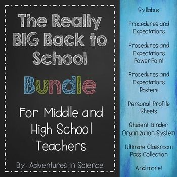 Are you a new middle school or high school teacher? Are you completely overwhelmed trying to get ready for those first few days of school? Are you having trouble getting organized? Make your life a whole lot easier and check out this HUGE bundle of my bestselling products! With a few quick edits on your part, you can have your Syllabus, Procedures, Expectations, Student Profile Sheets, and MORE ready to go in no time at all! And since everything is editable, you can make everything perfect…