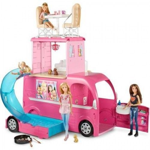 Barbie Camper Van Pink Dream Vehicle Pop Up Doll House 2 Story Car Pink Play Set #BarbieCamperVan