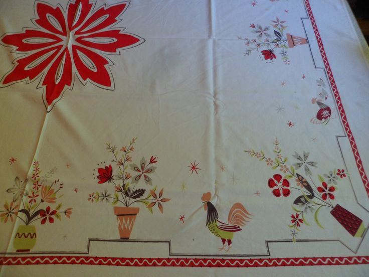 """Vintage 1950's Farmhouse Tablecloth 52 1/2 x 63"""" Roosters Chickens Chicks Stylized Floral Bouquets by PleasantDaysVintage on Etsy"""