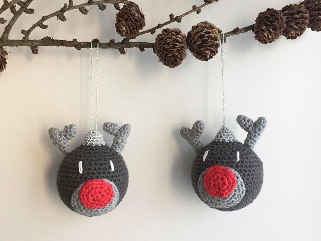 Aram aka Fasters pind har designet endnu en skøn julekugle, denne gang er det disse skønne hæklede julekugler med Rudolf motiv. (Se opskriften på den hæklede julekugle-gris her). Her kommer opskrif