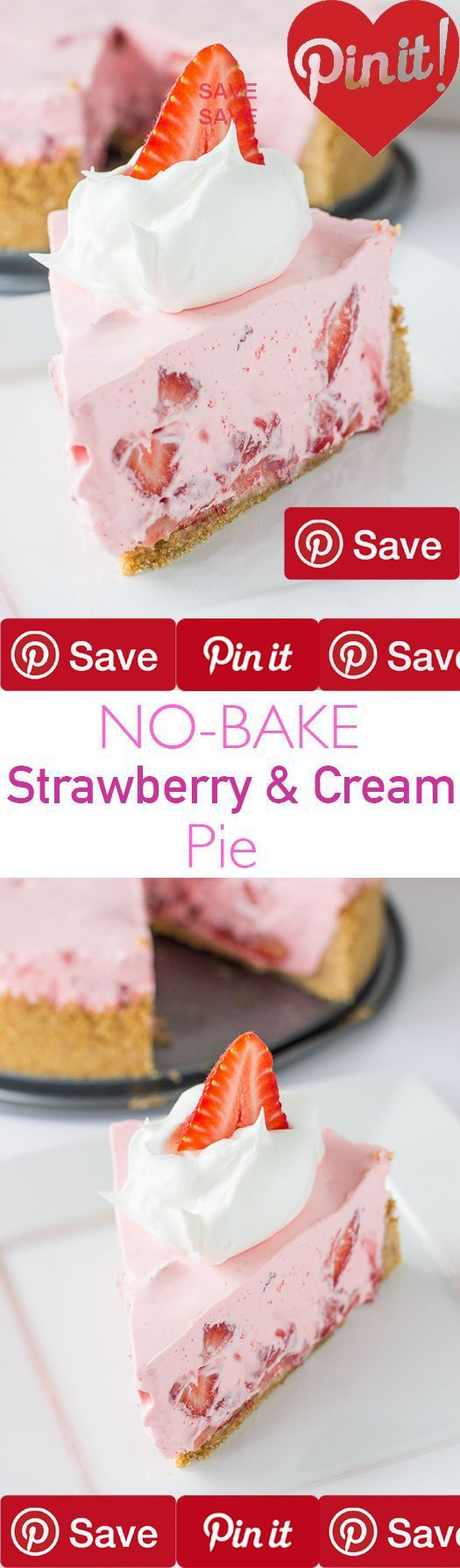 No-Bake Strawberry & Cream Pie This No-Bake Strawberry & Cream Pie is a family favorite around our house. Its light its refreshing and you dont even have to turn on cakez