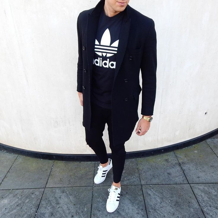 pea coat , black adidas hoodie , adidas superstar #casual