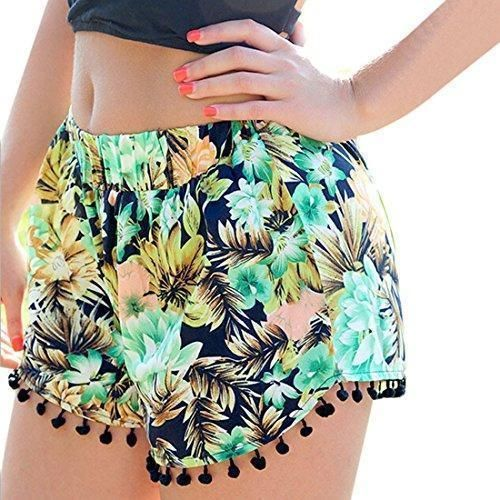 Oferta: 1.96€. Comprar Ofertas de La Playa Del Verano De La Borla De Las Mujeres Del Dobladillo De Flores Impresas Pantalones Cortos Pantalones Cortos Ocasiona barato. ¡Mira las ofertas!