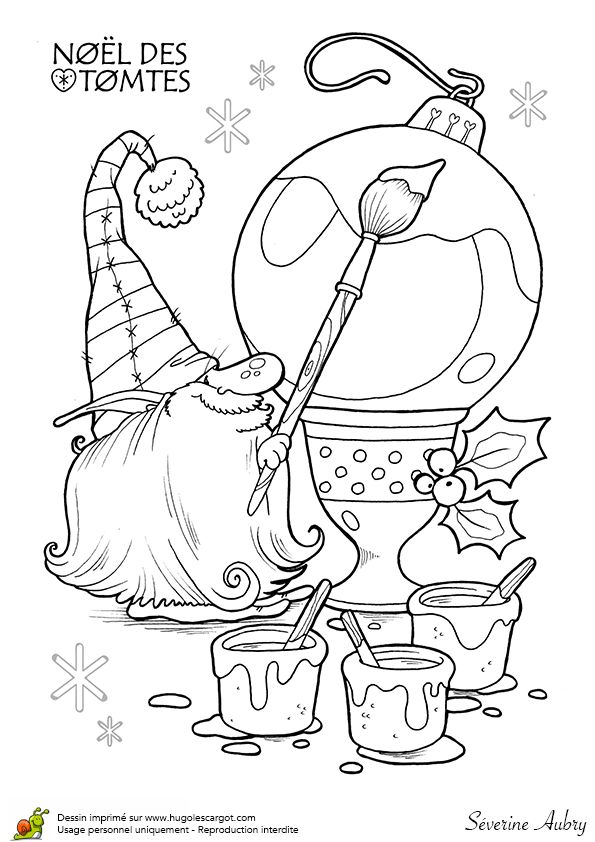 Coloriage les tomtes lutins suedois boules sur Hugolescargot.com - Hugolescargot.com