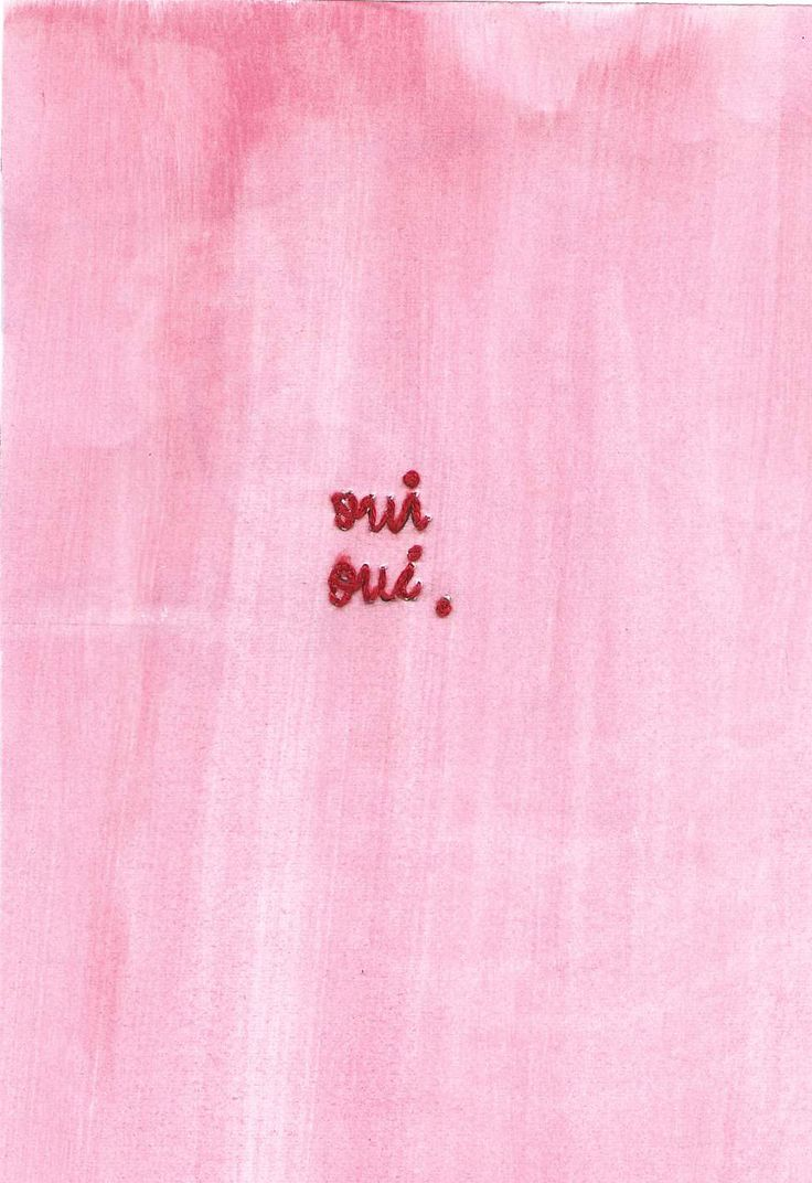 Embroided Oui Oui with pink painted paper by Celia Bleijenberg