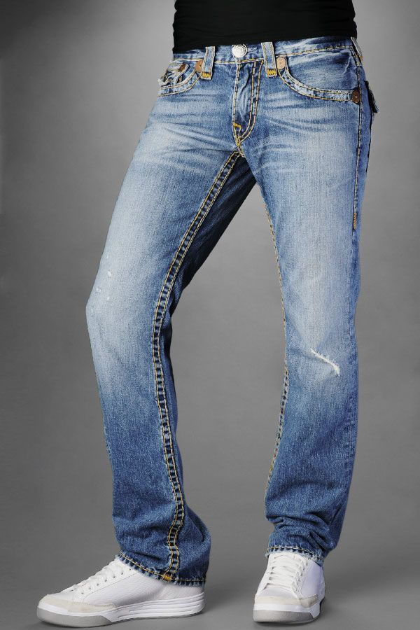 True Religion Jeans Men's Ricky Multi Super T Medium Drifter With Rips Outlet_truereligioncheapsales.us