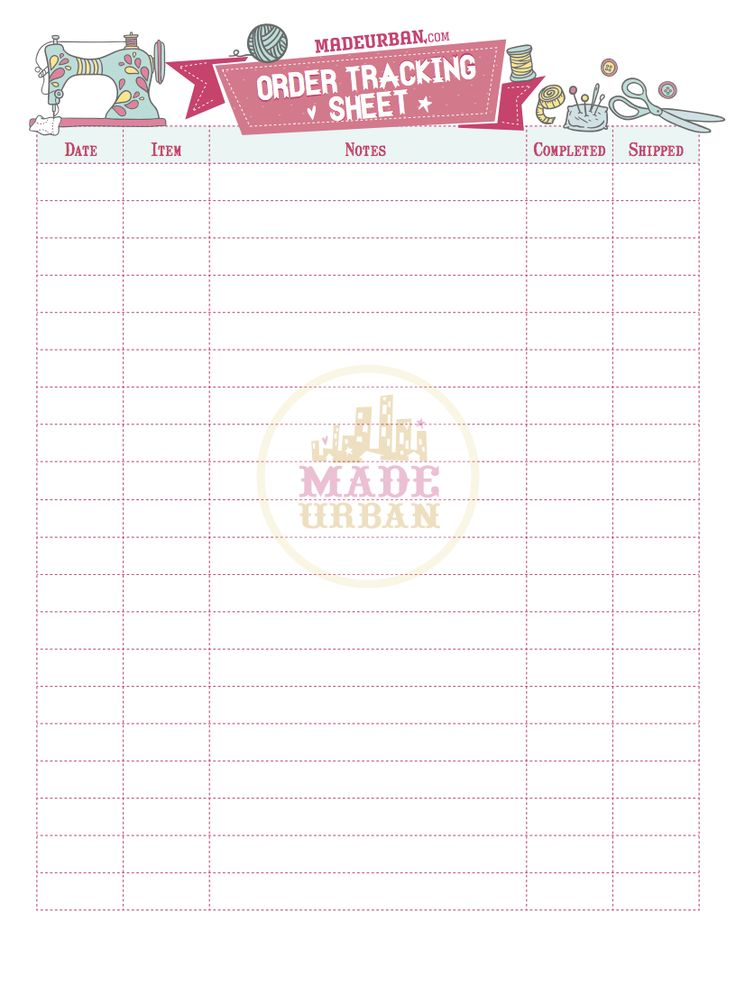 Use this free printable to keep track of orders that come in for your handmade business and mark when they've gone out. You could even use this to keep track of inventory at a craft fair. Click to download.
