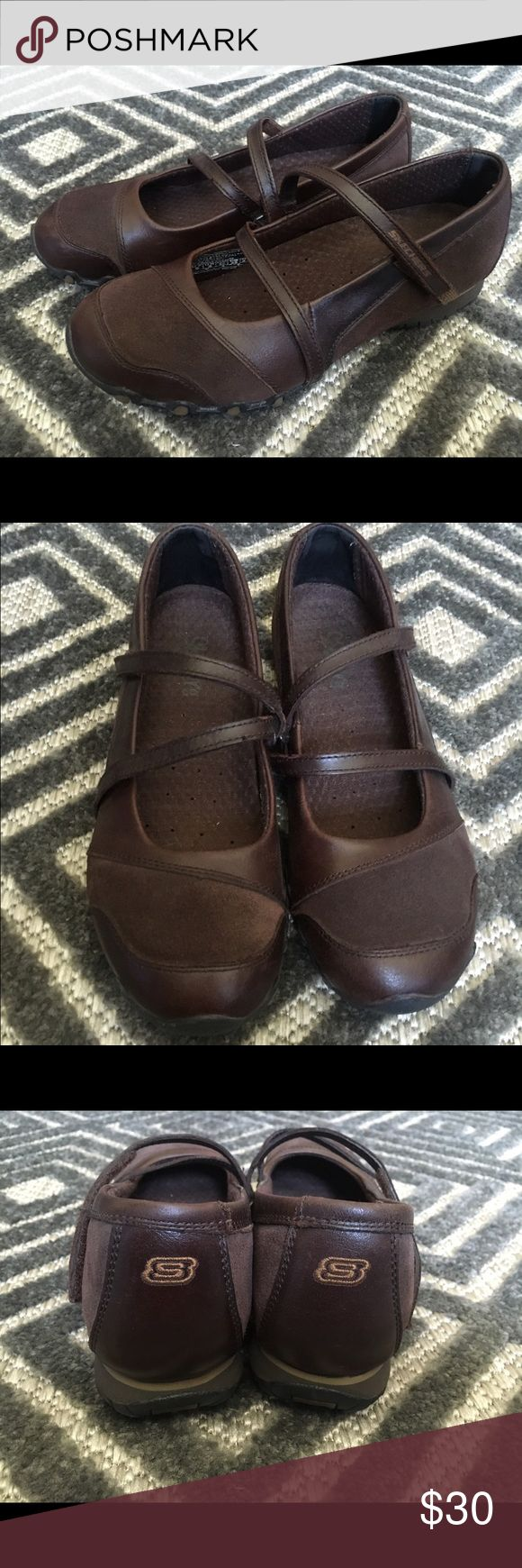 Sketchers Mary Janes Brown Shoe women's sz. 8 - Skechers Slip-on (w/velcro) Walking shoe. excellent condition, very comfortable, worn inside only a few times. Skechers Shoes Athletic Shoes
