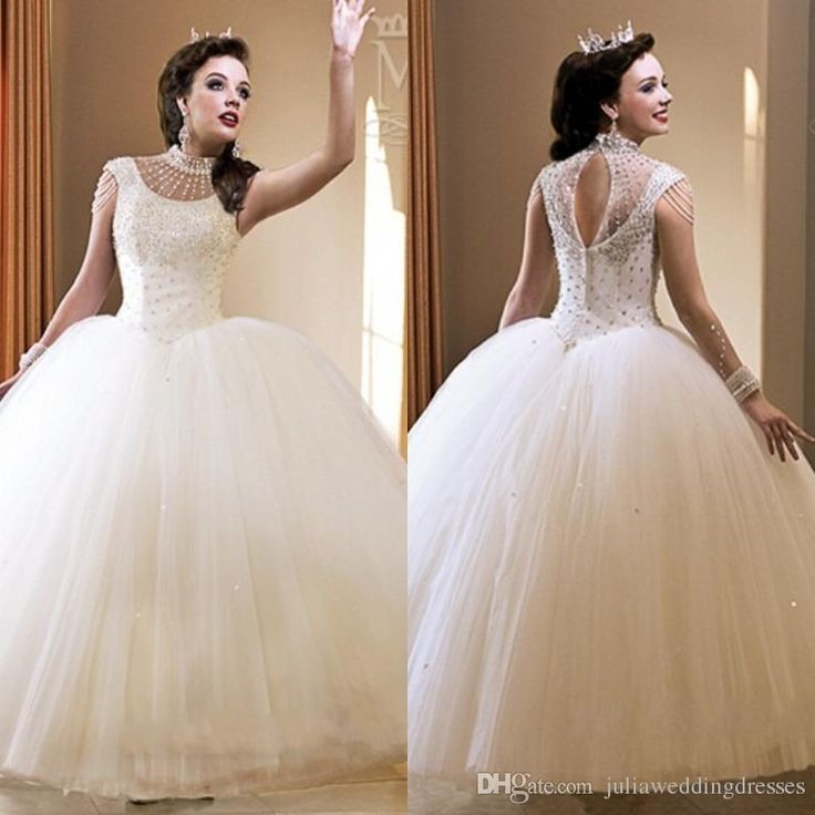 2016 Crystals Beaded Organza Ball Gown White Quinceanera Dresses with Tiered…